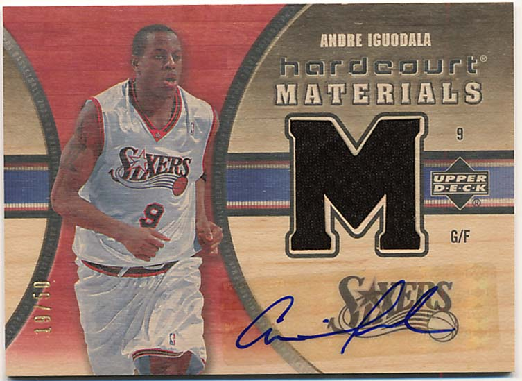 Lot #963 2005 Upper Deck Hardcourt Materials # 1950 Andre Iguodala Cond: 9.5