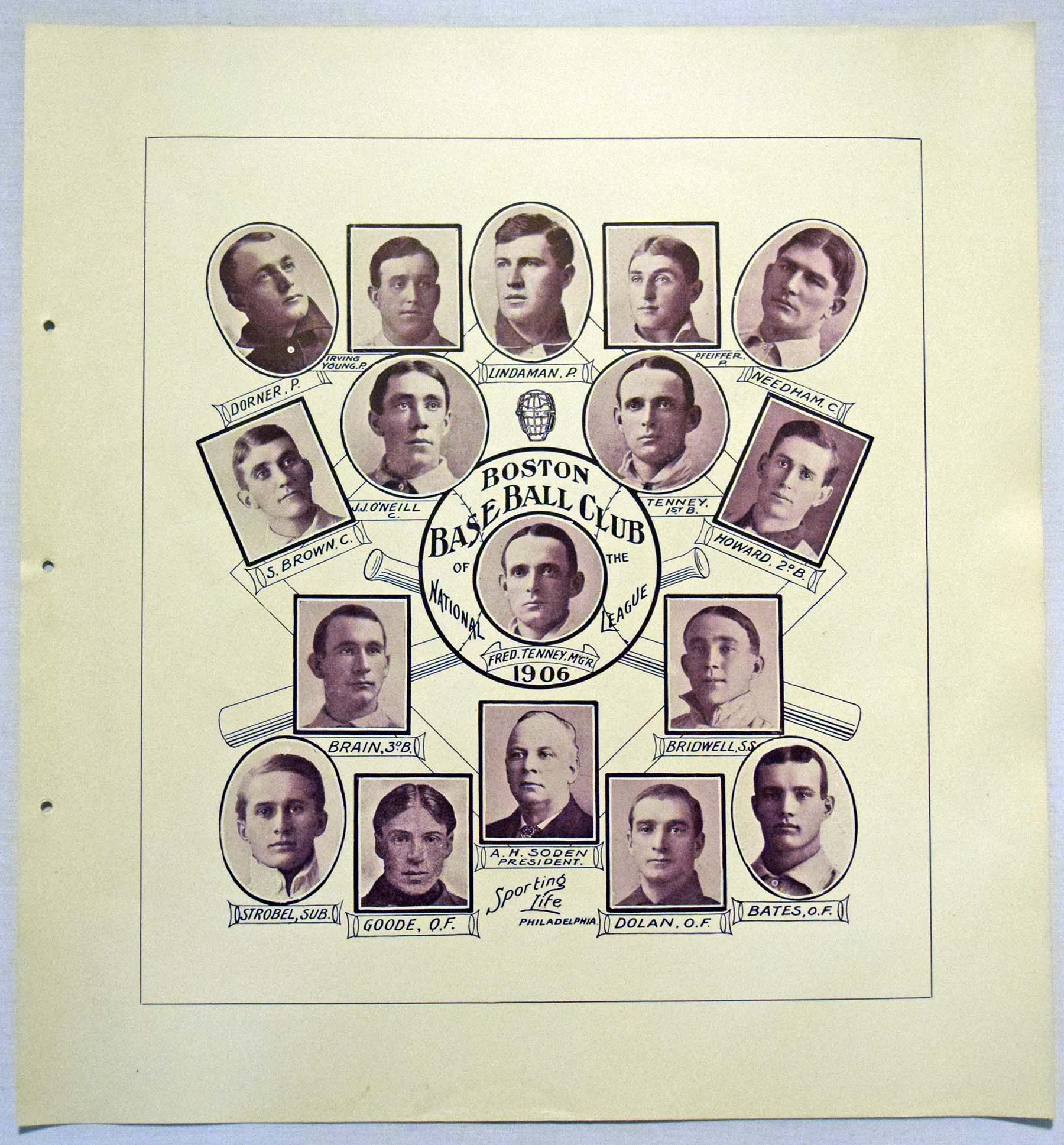 Lot #350 1907 W601 Sporting Life Composite  Boston Braves Cond: NM