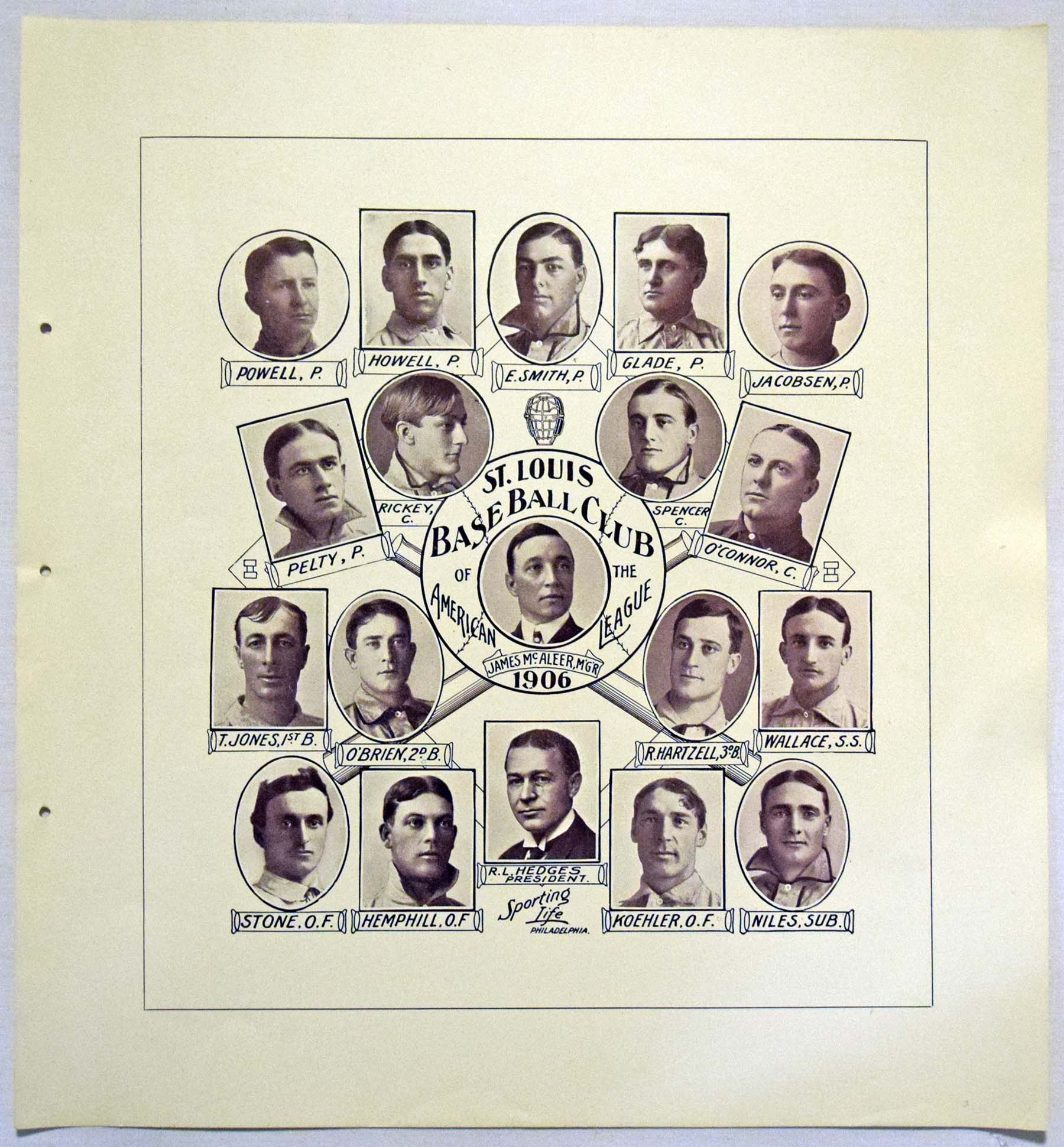 Lot #358 1907 W601 Sporting Life Composite  St. Louis Browns Cond: NM