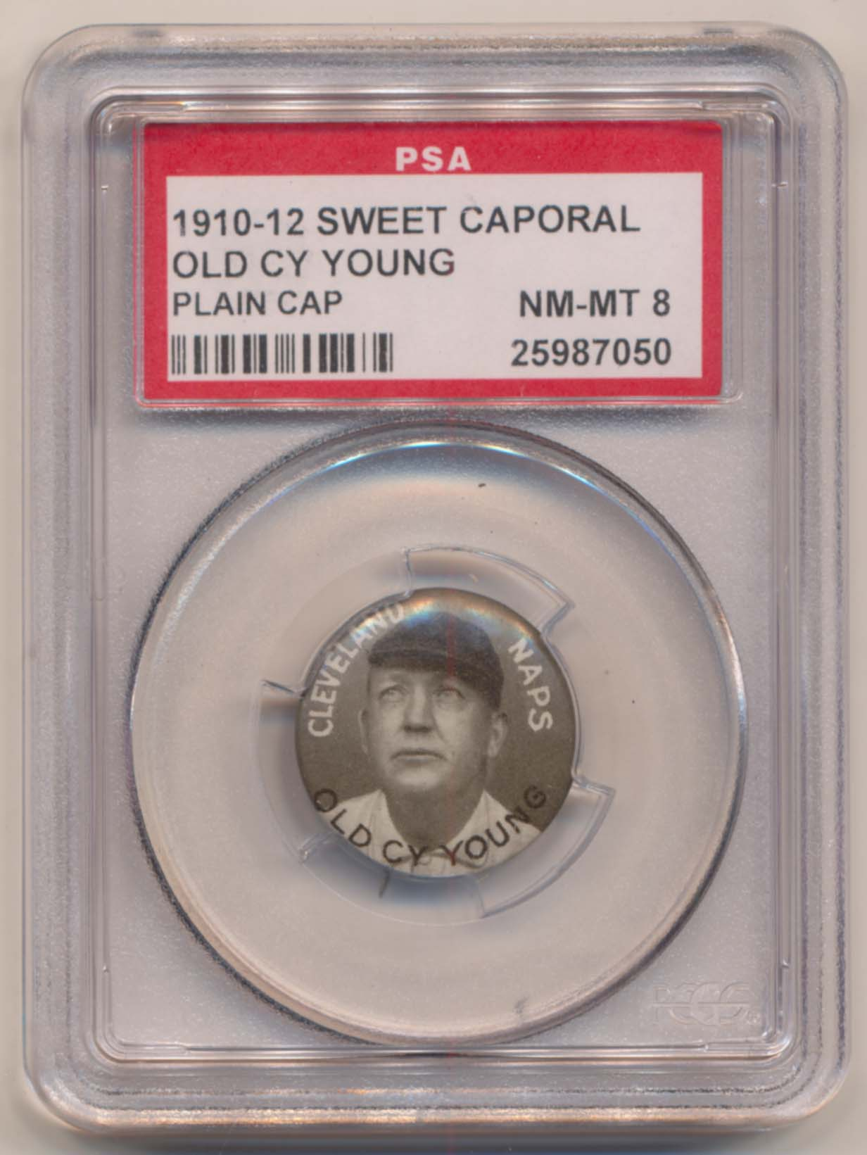 Lot #75 1910 Sweet Caporal Pins  Cy Young (large letters) Cond: PSA 8