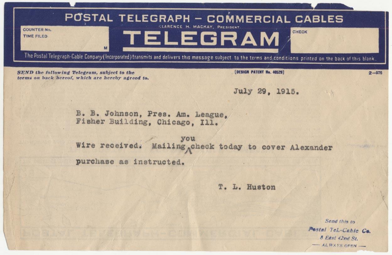 Lot #1499 1915 Document  1915 Yankees Telegram Cond: VG-Ex