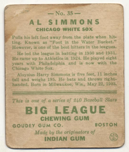 Lot #329 1933 Goudey # 35 Simmons Cond: Good