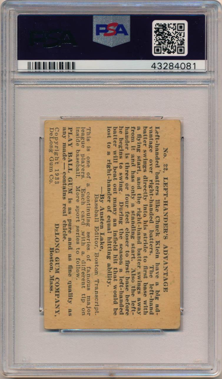 1933 DeLong 22 Klein PSA 2