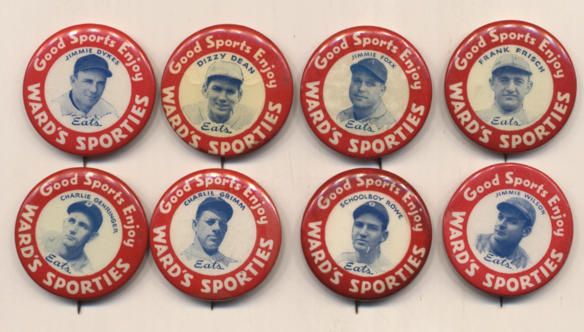 1934 Wards Sporties Pins  Complete Set Ex-Mt