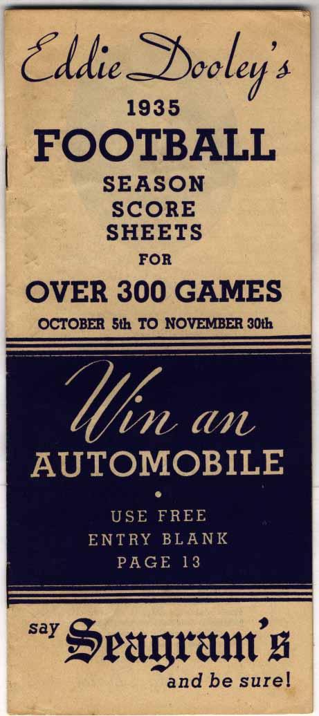1935 Schedule  Eddie Dooley Football Schedule Ex-Mt