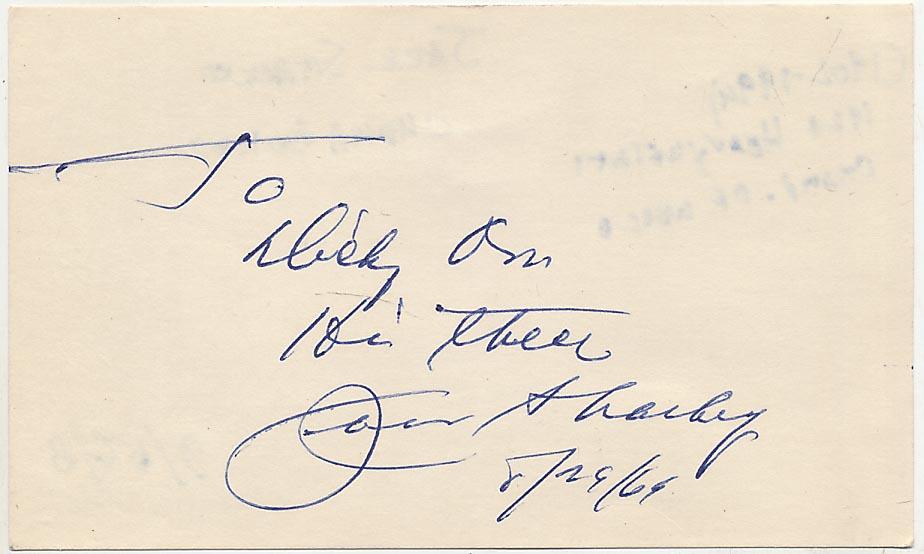 Lot #829  3 x 5  Sharkey, Jack (1969) (JSA LOA) Cond: 9.5