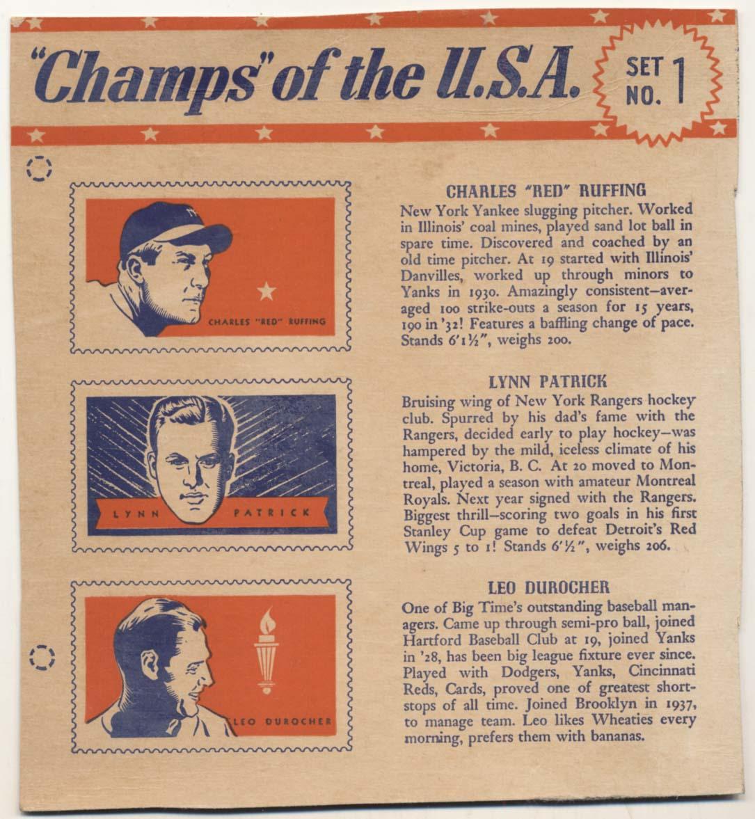 Lot #191 1940 Wheaties Champs USA # 1.1 Durocher/Patrick/Ruffing Cond: VG-Ex (no bottom tab)