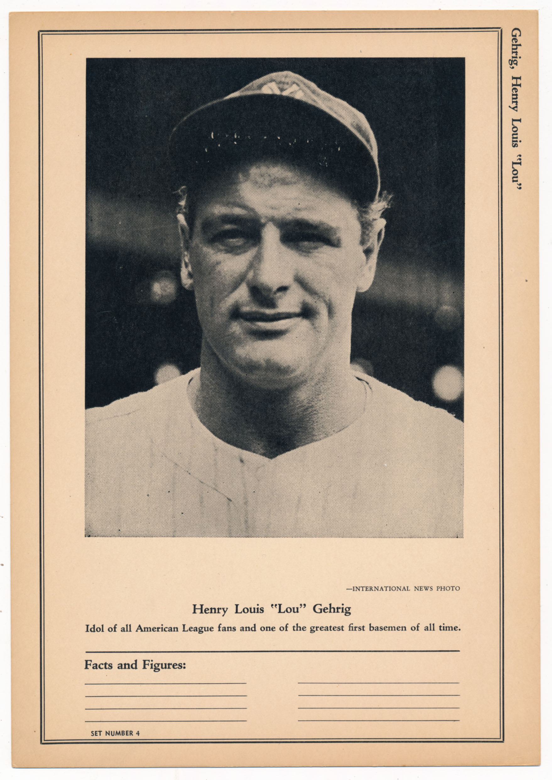 Lot #207 1946 Sports Exchange  Gehrig, Lou Cond: Ex-Mt+