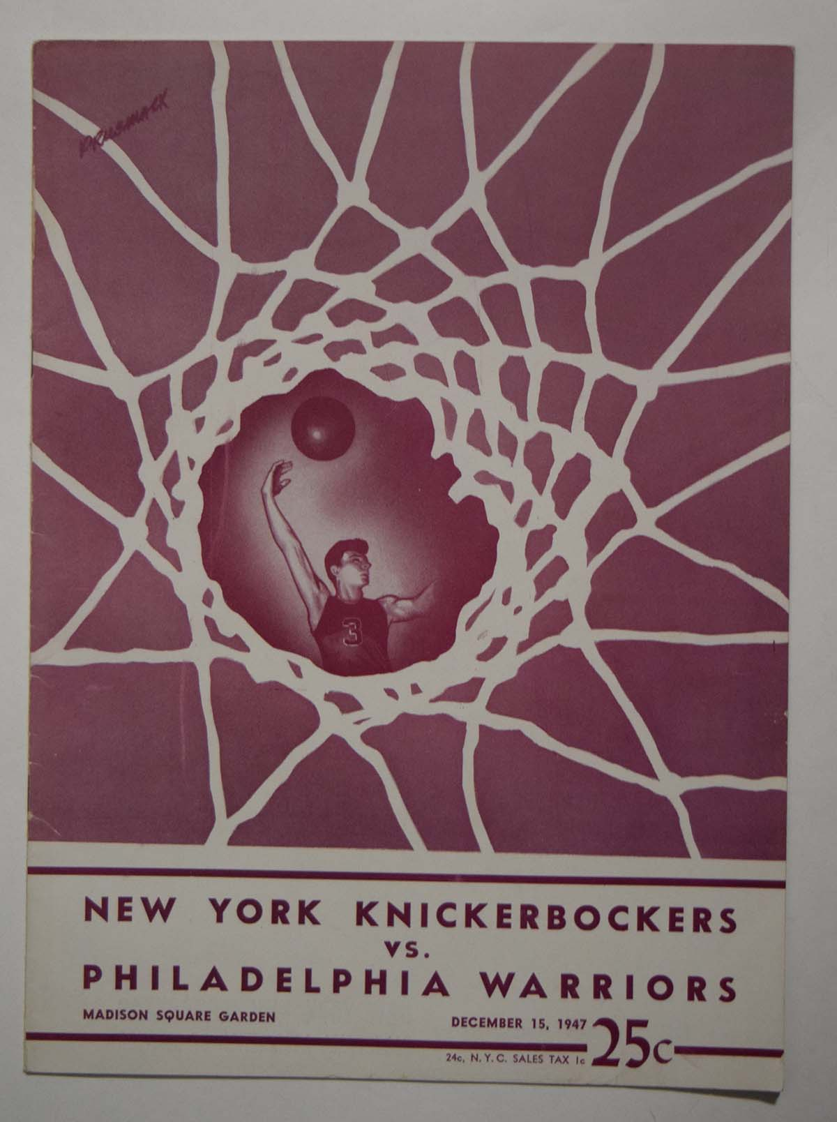 Lot #856 1947 Program  Knicks - Warriors (12/15/47) Cond: Ex-Mt