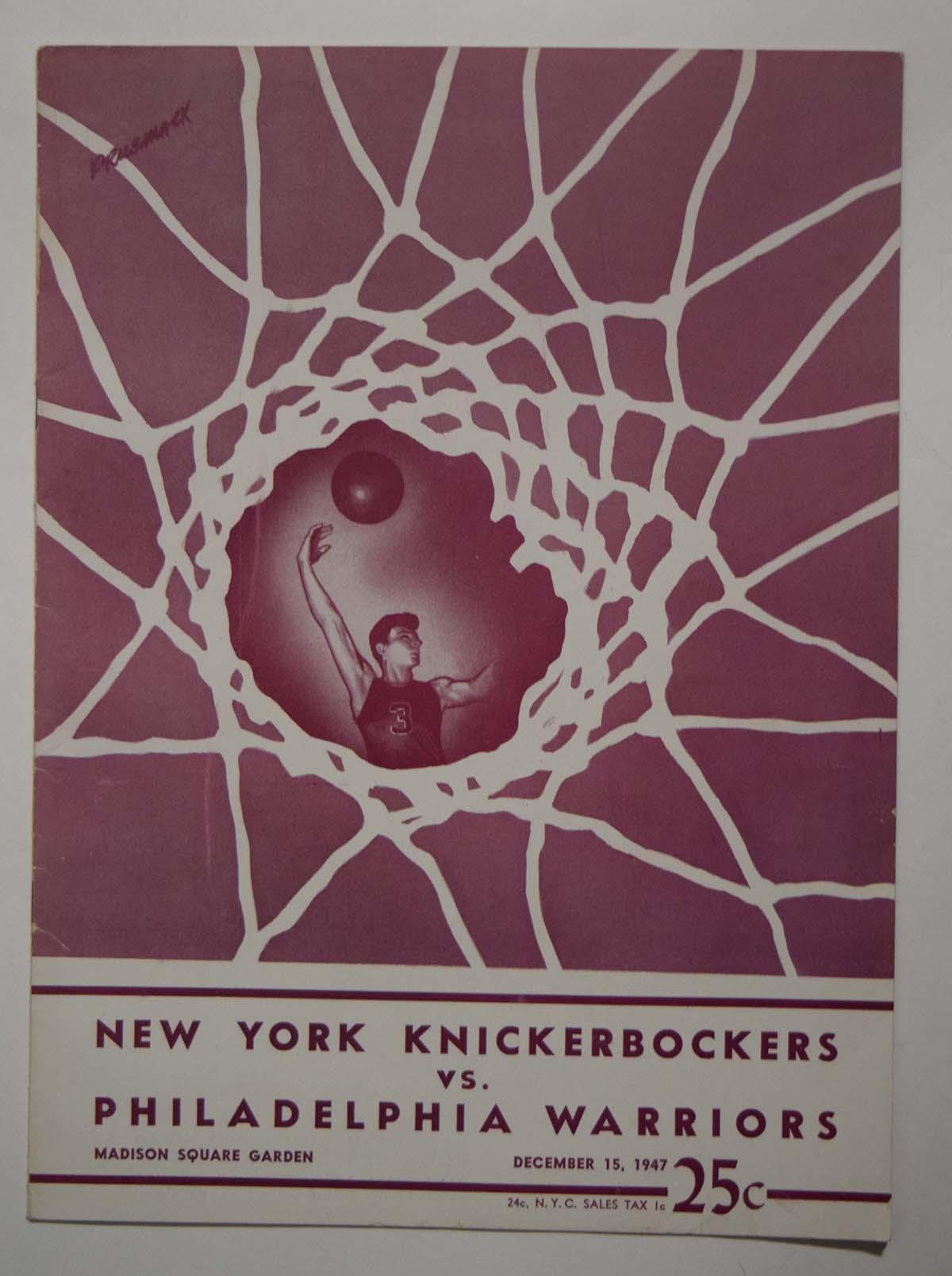 Lot #856 1947 Program  Knicks - Warriors (12/15/47) Cond: Ex-Mt