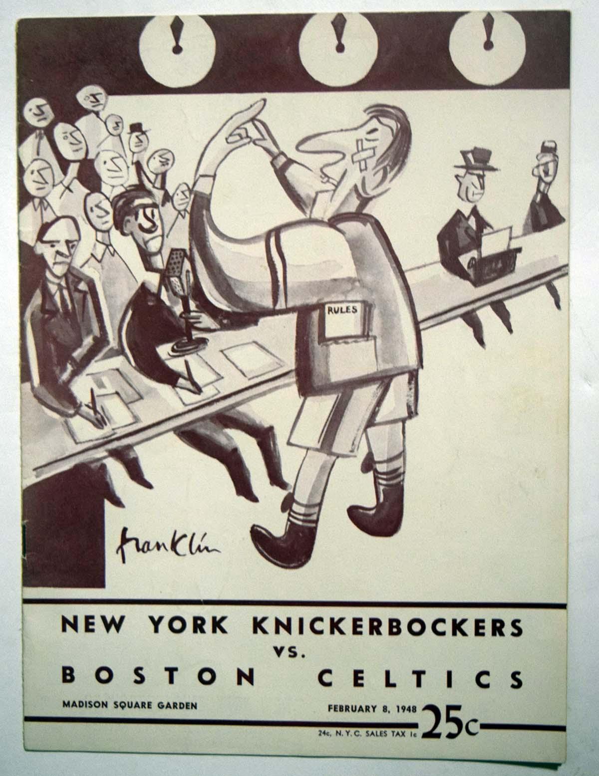 Lot #857 1948 Program  Knicks - Celtics (02/08/48) Cond: Ex-Mt