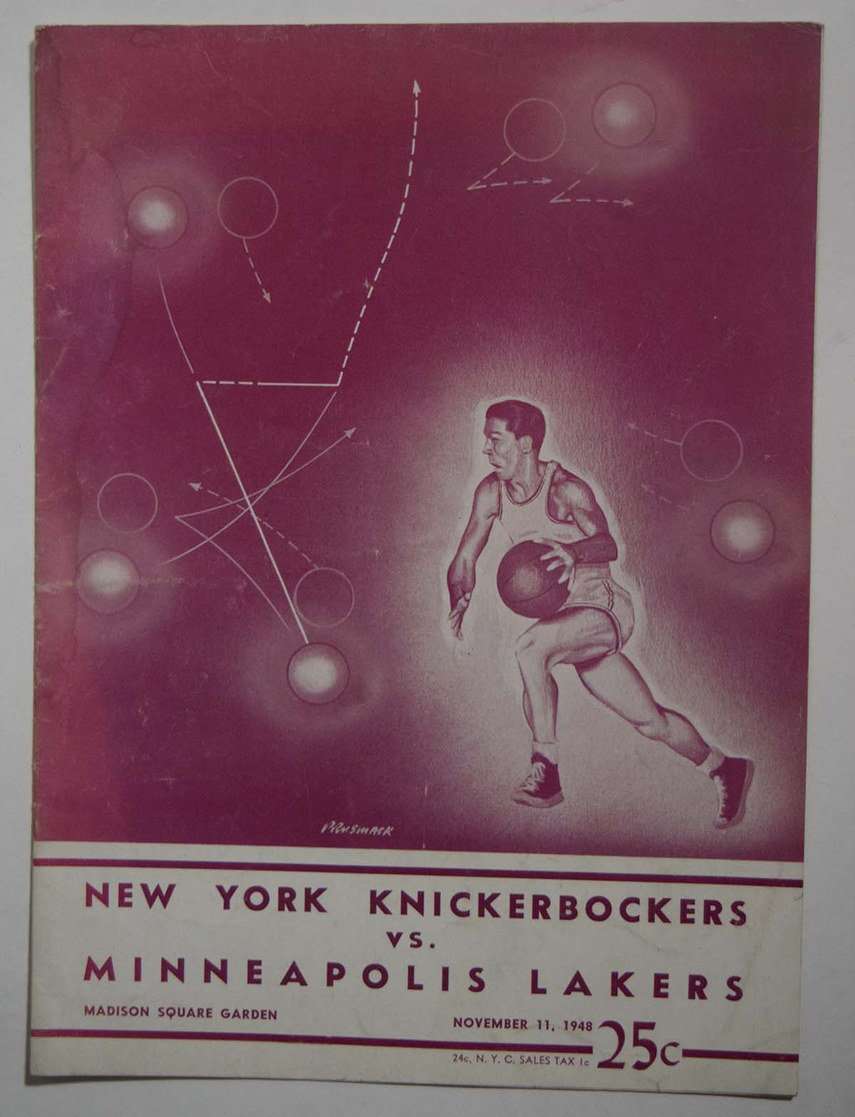 Lot #971 1948 Program  Knicks - Lakers (11/11/48) Cond: VG-Ex