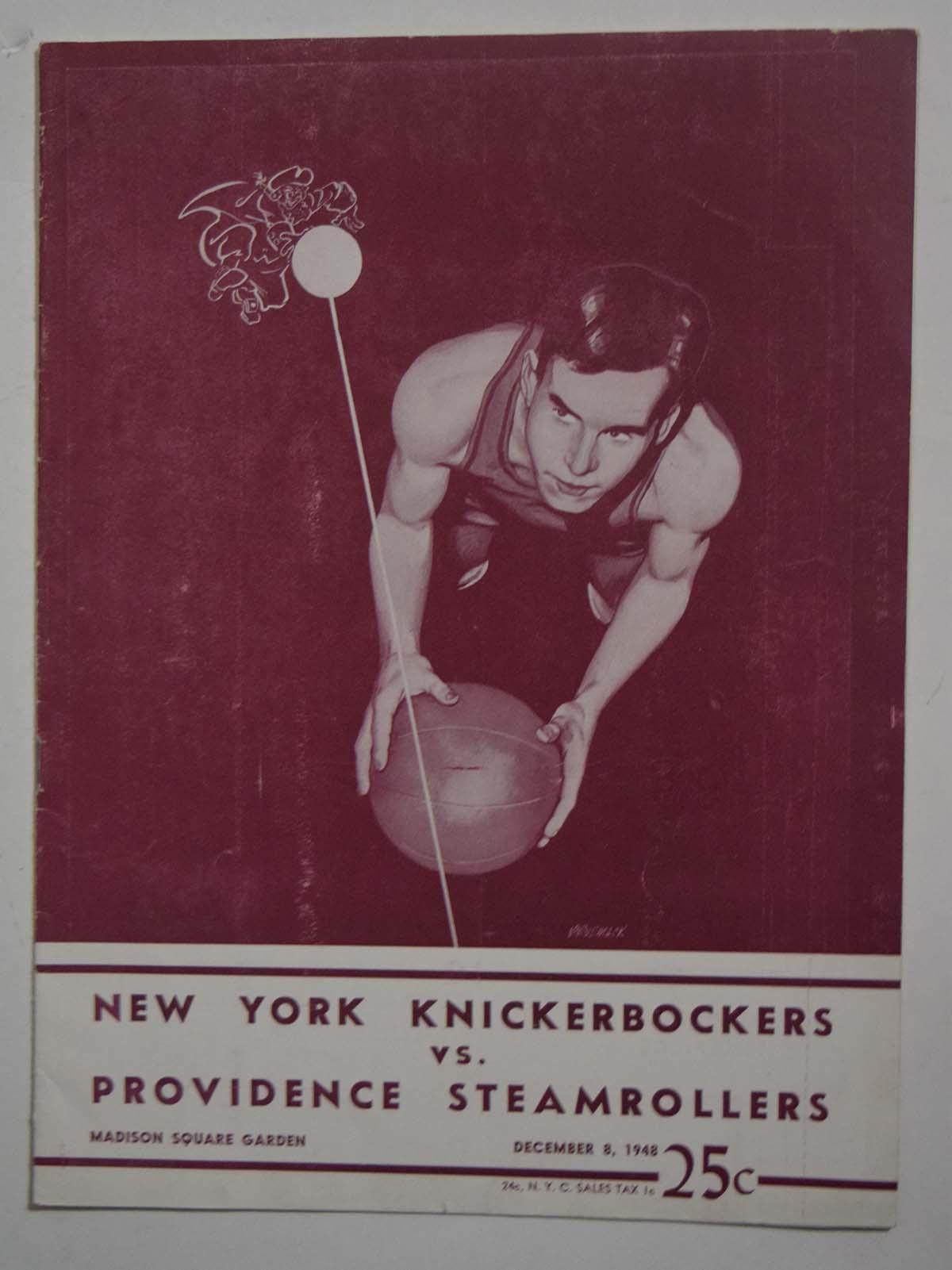 Lot #859 1948 Program  Knicks - Steamrollers (12/08/48) Cond: Ex+