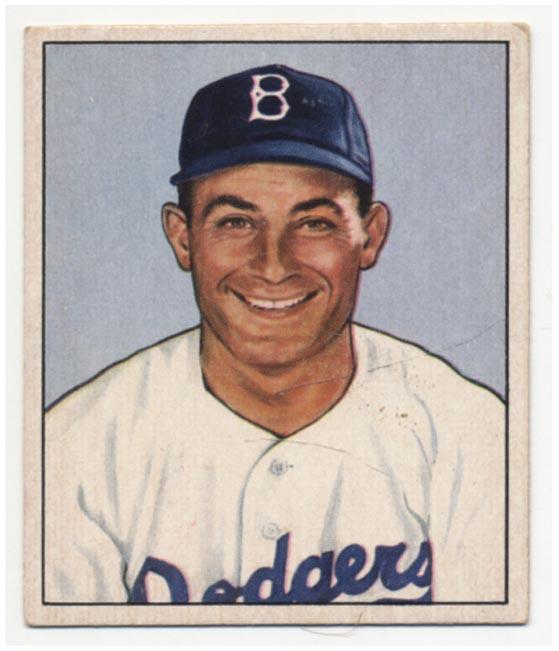 Lot #215 1950 Bowman # 58 Carl Furillo Cond: Ex