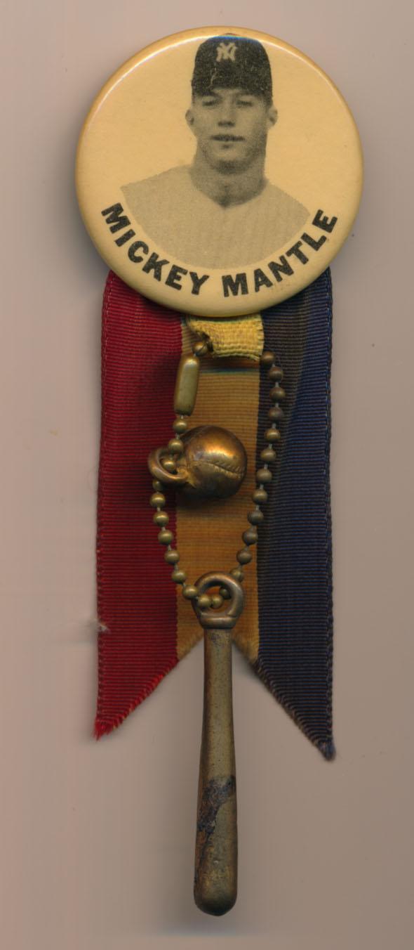 1950 PM10 Pin  Mickey Mantle (portrait, white background) Ex-Mt+