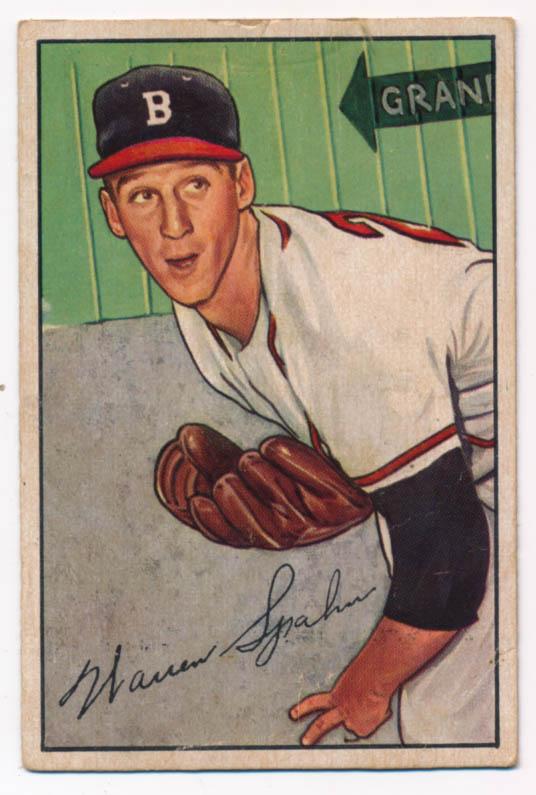 Lot #343 1952 Bowman # 156 Spahn Cond: VG+