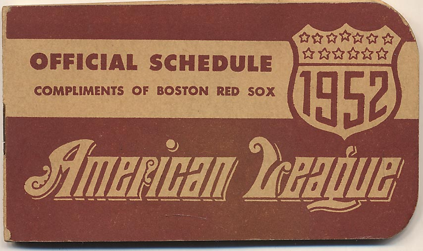 1952   Red Sox Pocket Schedule VG-Ex
