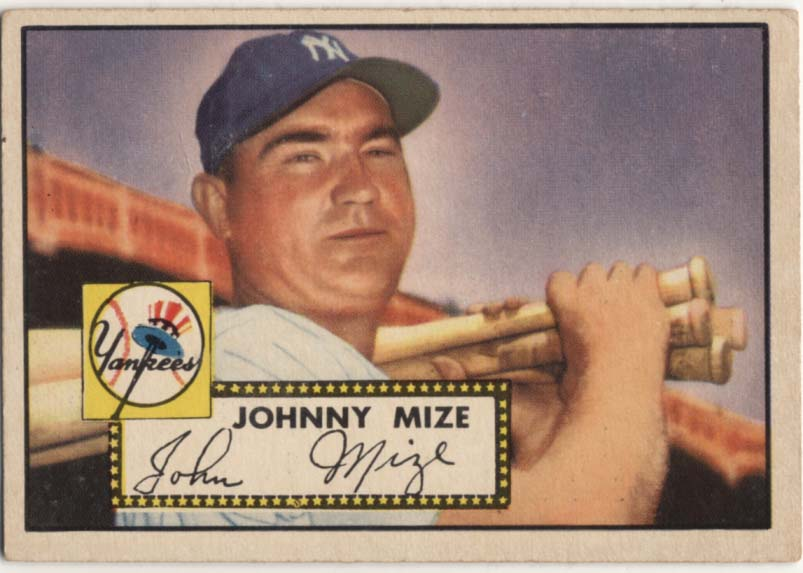 Lot #390 1952 Topps # 129 Johnny Mize Cond: Ex