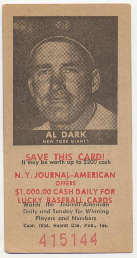 Lot #330 1954 NY Journal American # 21 Alvin Dark Cond: VG-Ex/Ex