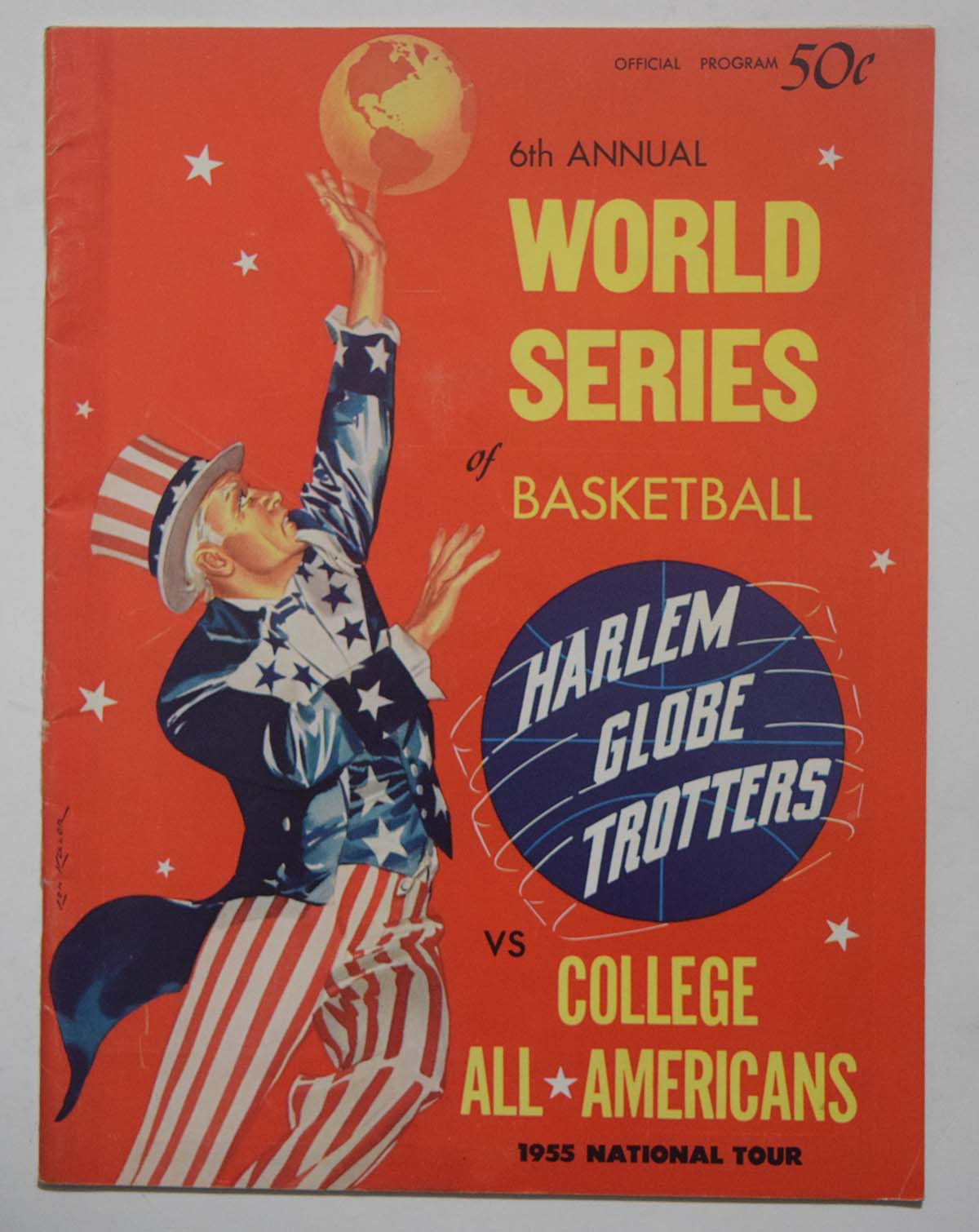 Lot #864 1955 Program  College All-American - Harlem Globetrotters Cond: Ex-Mt