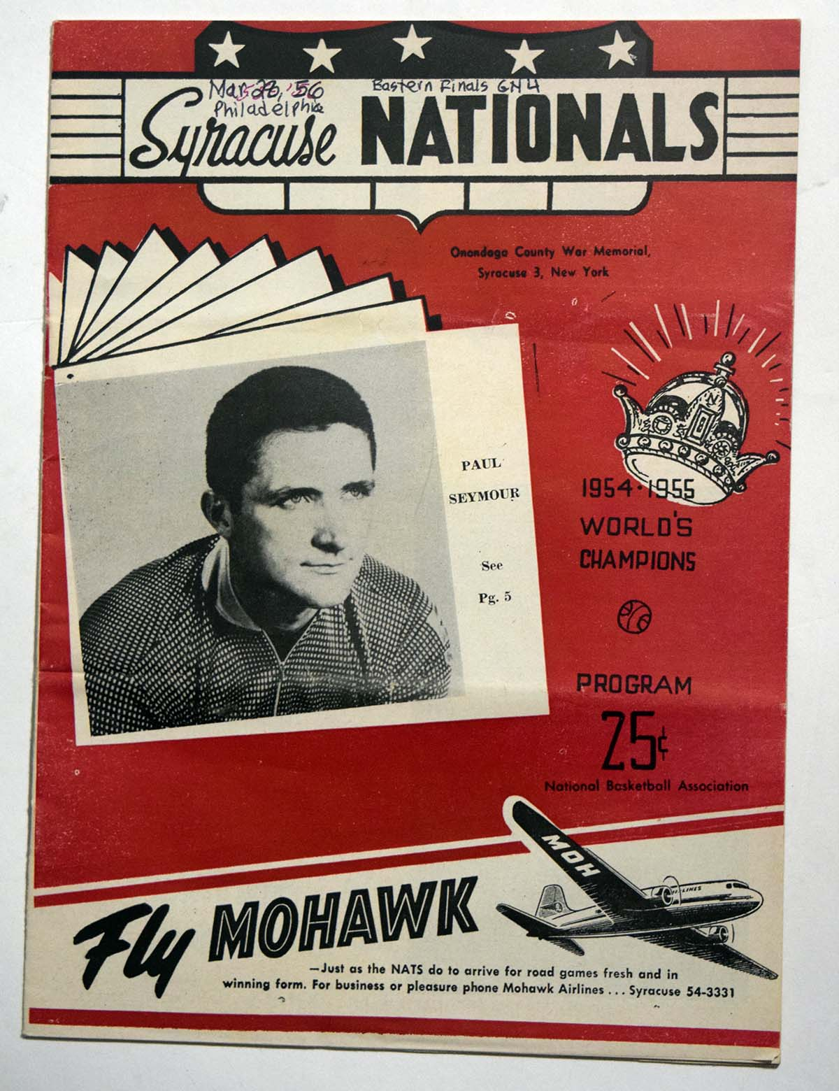 Lot #968 1955 Program  Syracuse Nationals/Phil. Warriors w/several HOFers Cond: VG-Ex scored