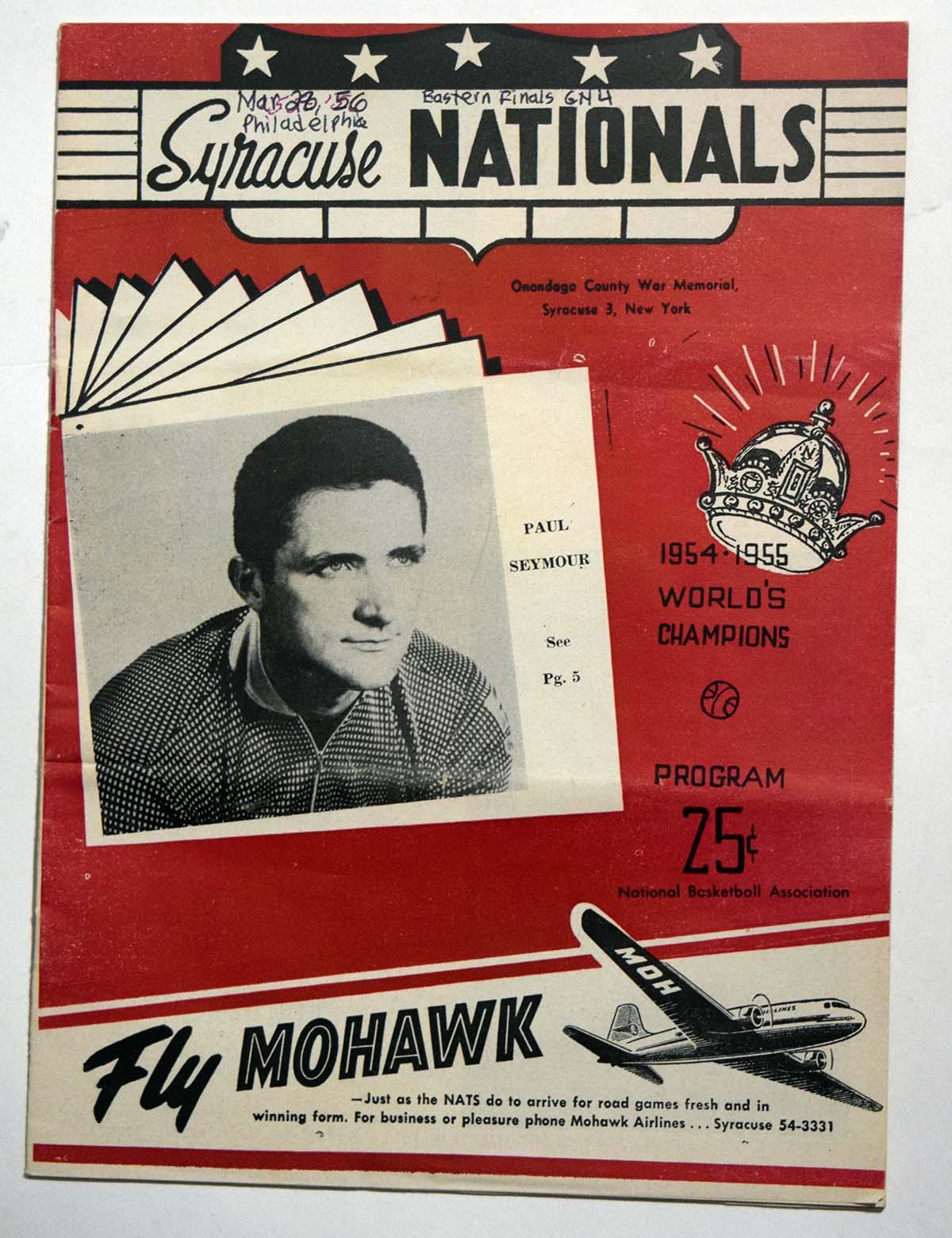 Lot #809 1955 Program  Syracuse Nationals/Phil. Warriors w/several HOFers Cond: VG-Ex scored