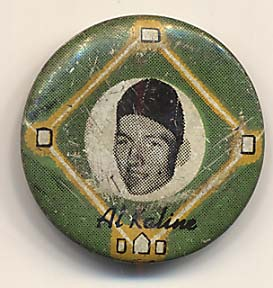Lot #850 1956 Yellow Basepath Pins # 16 Al Kaline Cond: Good
