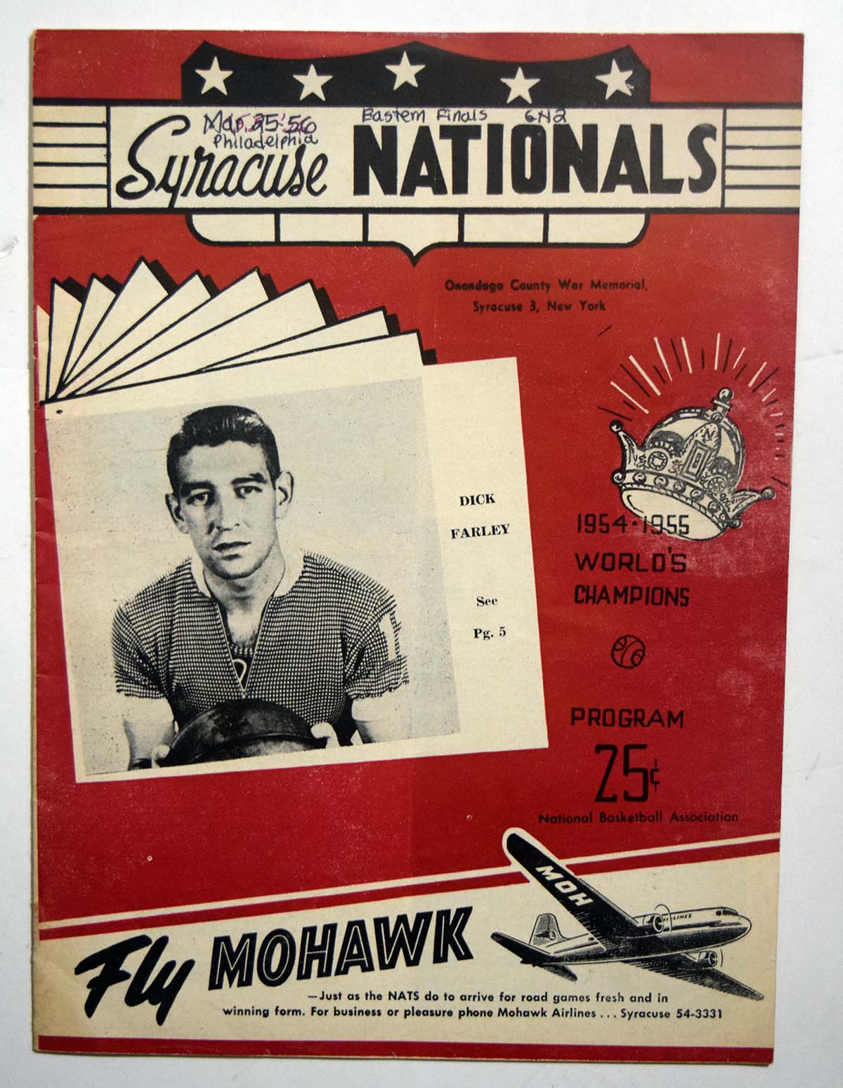 Lot #866 1956 Program  Syracuse Nationals/Phil. Warriors w/several HOFers (playoff game) Cond: VG-Ex...