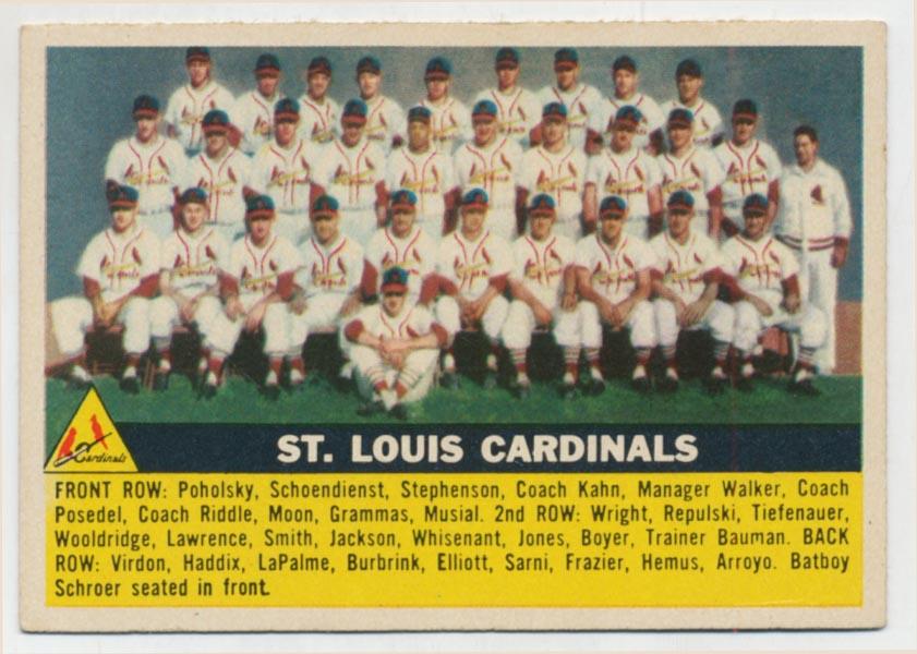 Lot #428 1956 Topps # 134 Cardinals TC Cond: Ex-Mt+