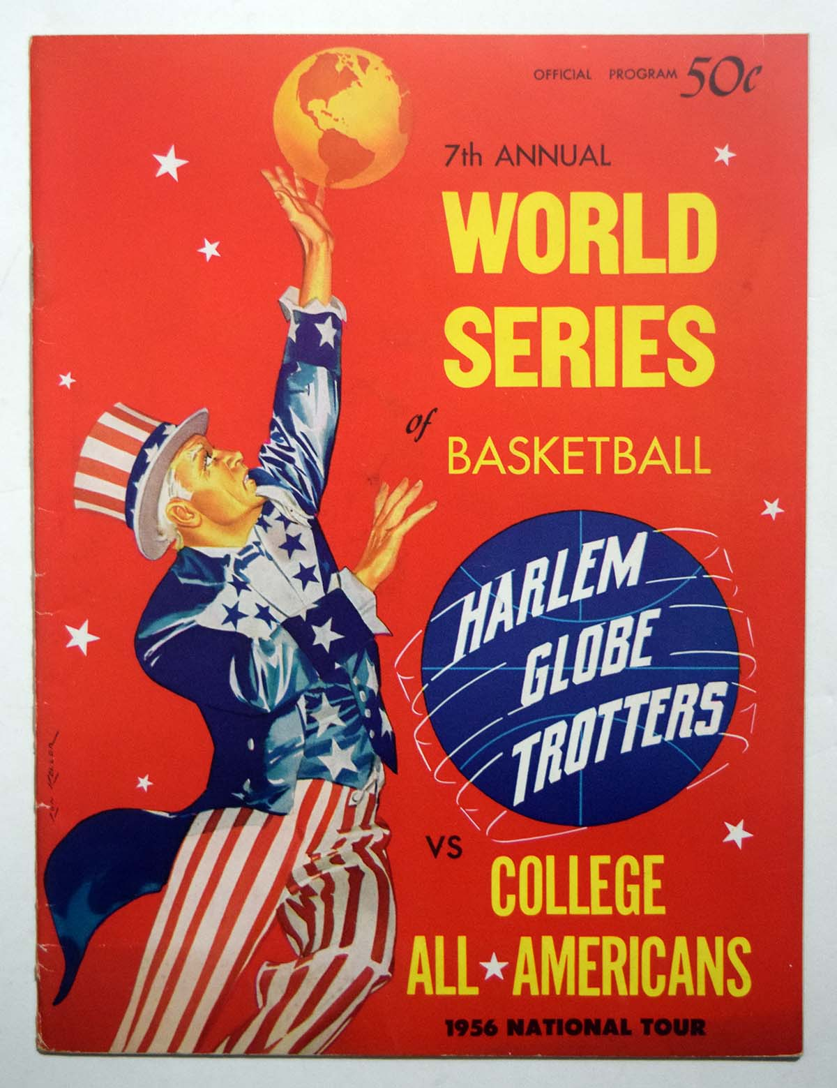 Lot #970 1956 Program  College All-American - Harlem Globetrotters w/Heinsohn Cond: Ex-Mt