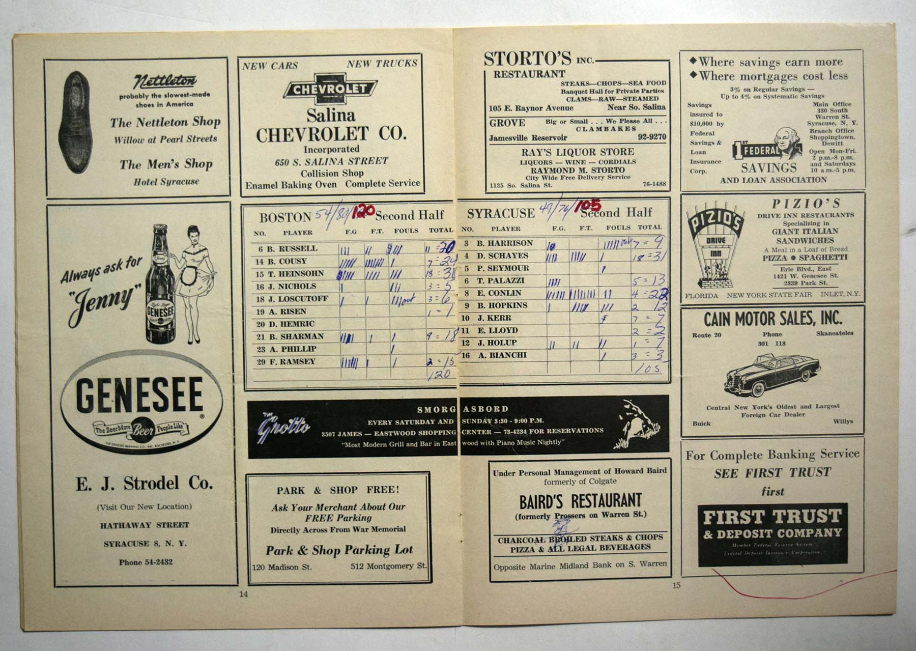 Lot #978 1957 Program  Syracuse Nationals/Boston Celtics Playoff Program Cond: VG
