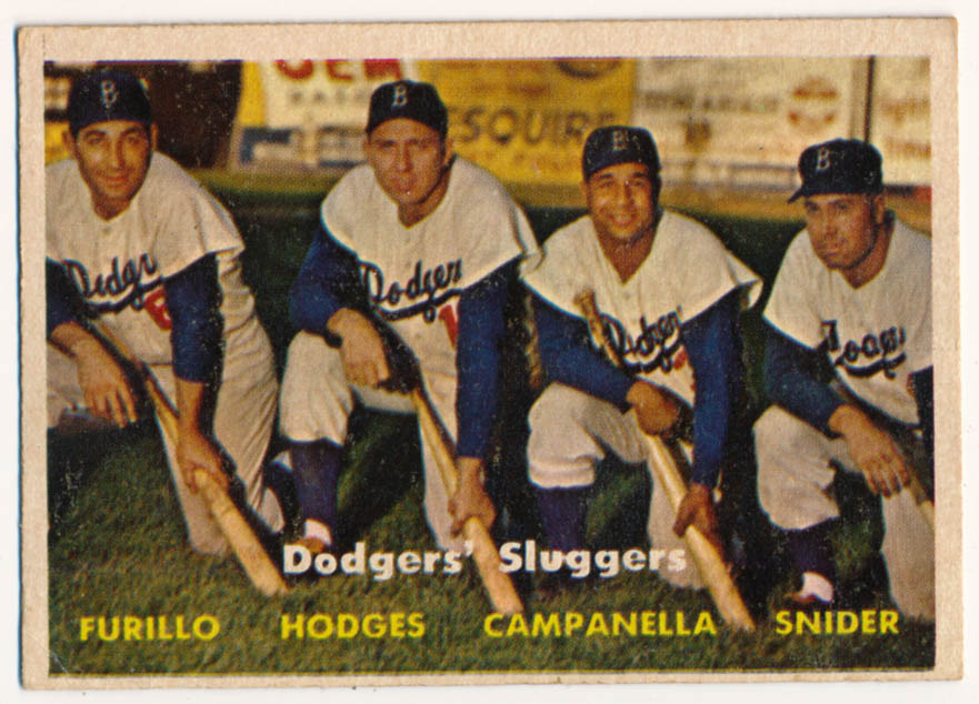Lot #887 1957 Topps # 400 Dodgers Sluggers Cond: VG+