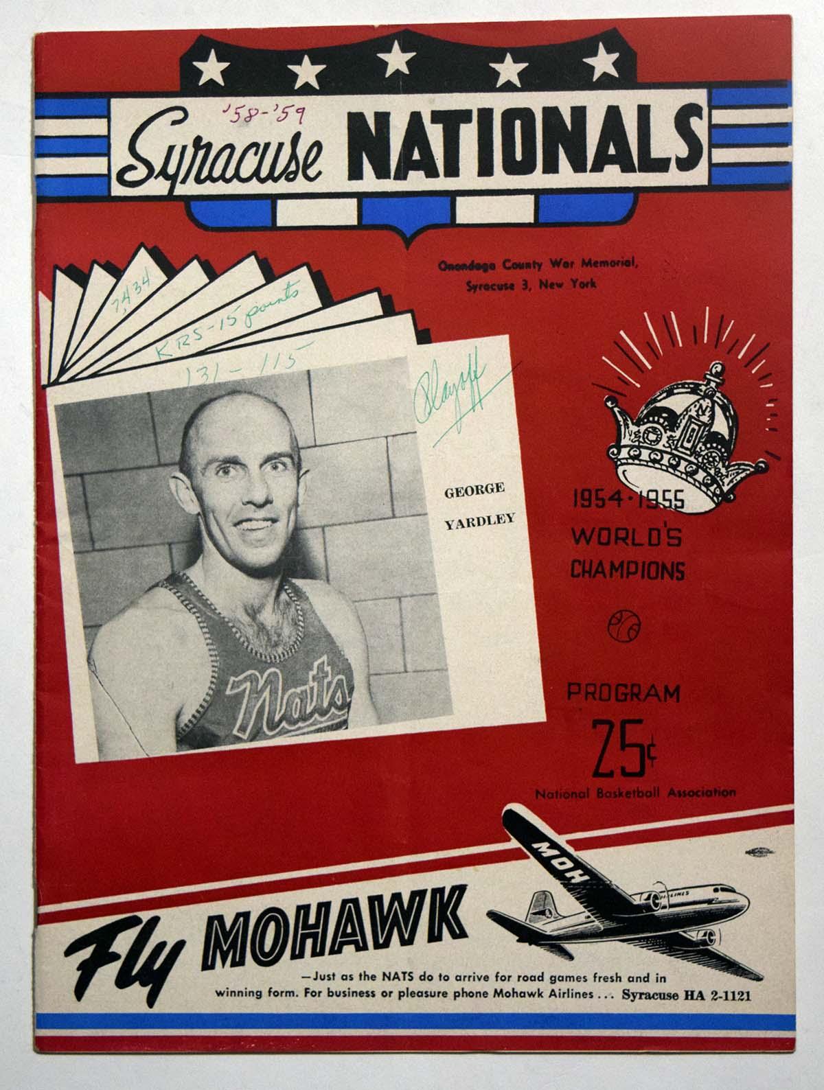Lot #980 1958 Program  Syracuse Nationals/Knicks Playoff Program Cond: Ex scored