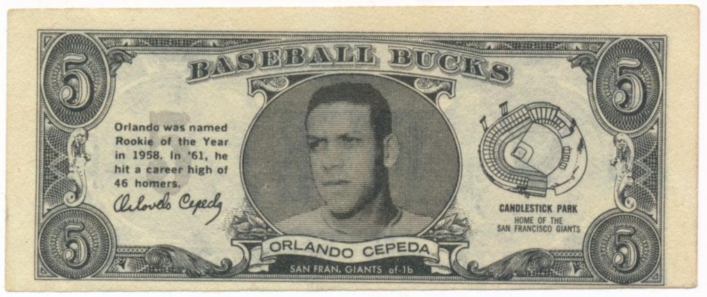 Lot #939 1962 Topps Bucks # 16 Orlando Cepeda Cond: Ex