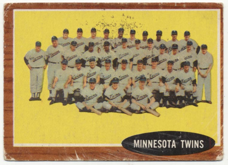 Lot #585 1962 Topps # 584 Twins Team  Cond: Good