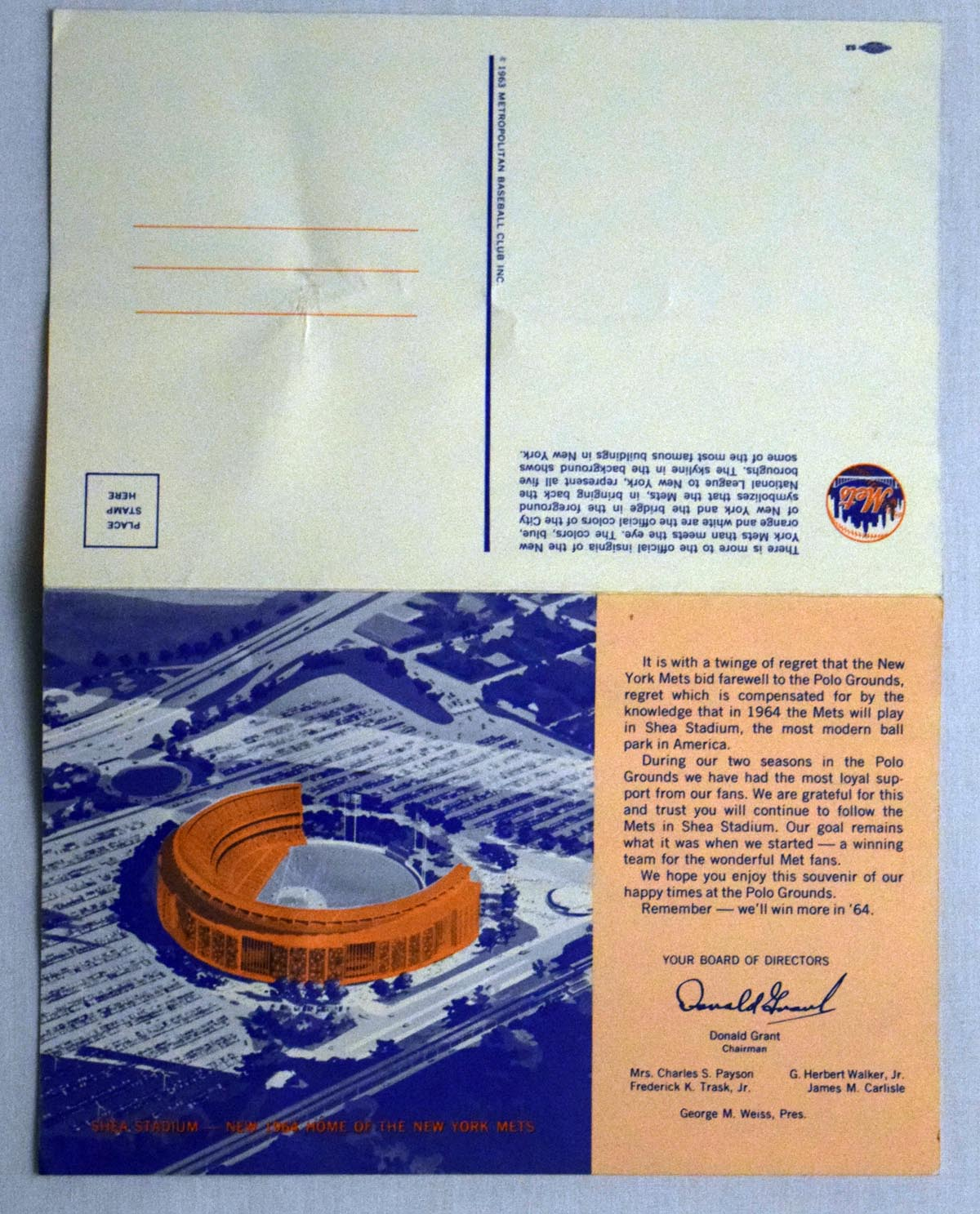 Lot #1406 1963   Mets Shea Stadium Postcard 8 1/2 X 5 1/2 Cond: Ex-Mt