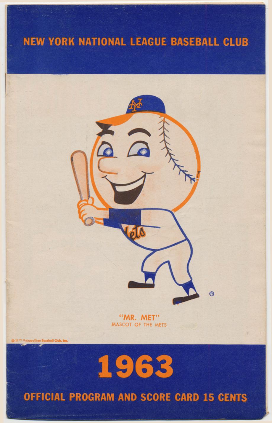 Lot #1780 1963 Scorecard  Mets (scored vs Cardinals, 6/7-9 series) Cond: Ex-Mt