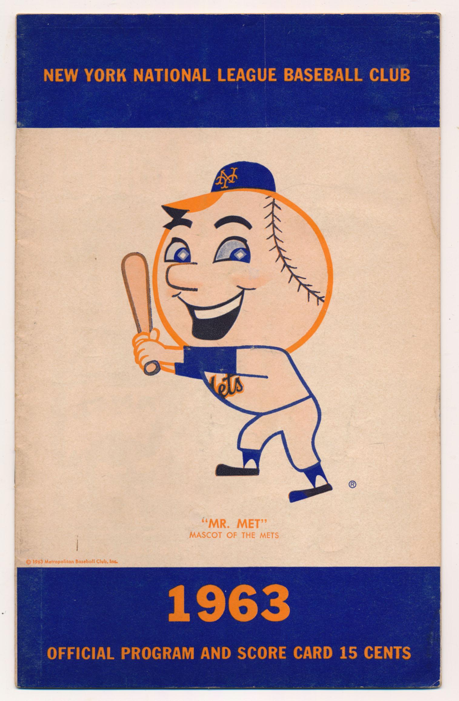 1963 Scorecard  Mets (scored vs. Dodgers) VG-Ex/Ex