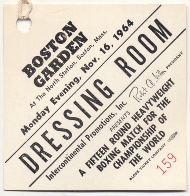 Lot #838 1964   Clay/Liston II Dressing Room Pass Cond: Ex-Mt