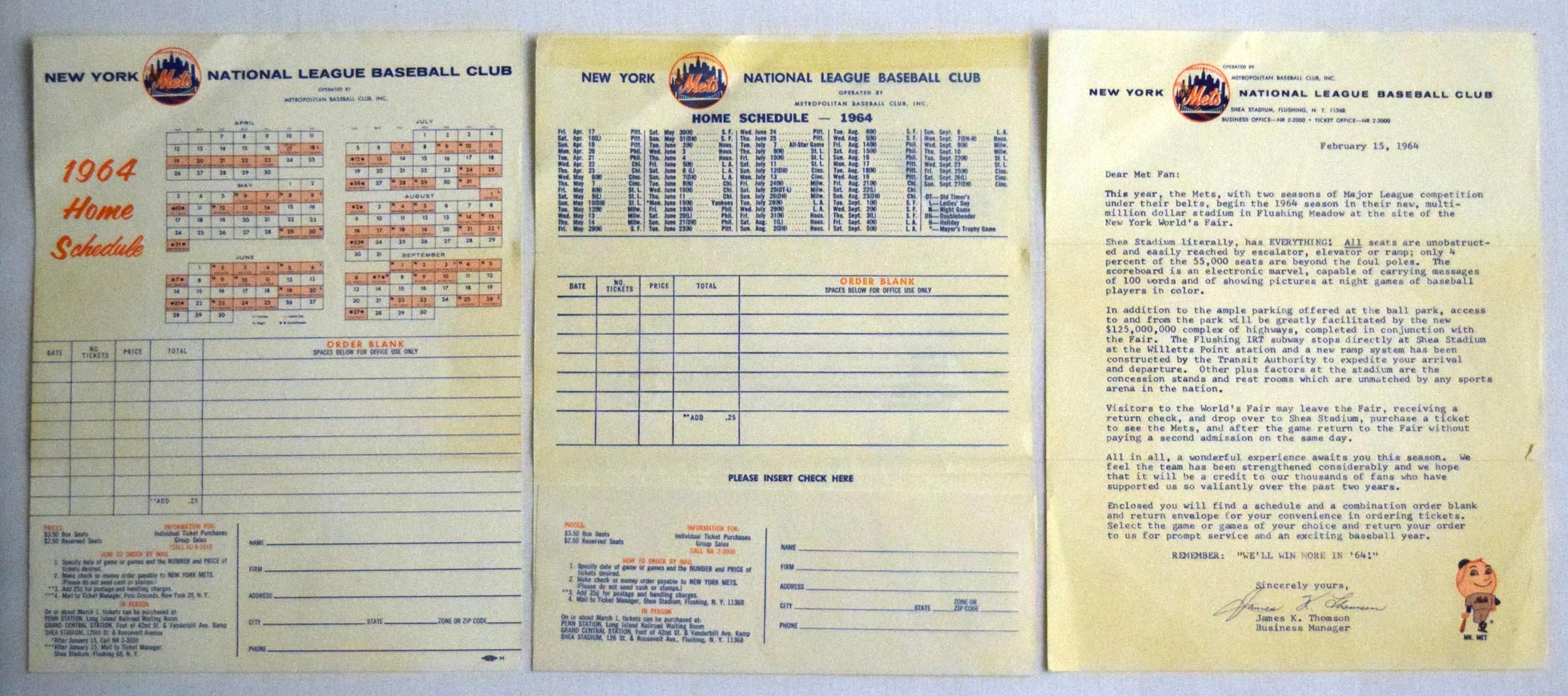Lot #1359 1964    Shea Stadium Opening Season Schedule/Mailing (3 pcs) Cond: Ex