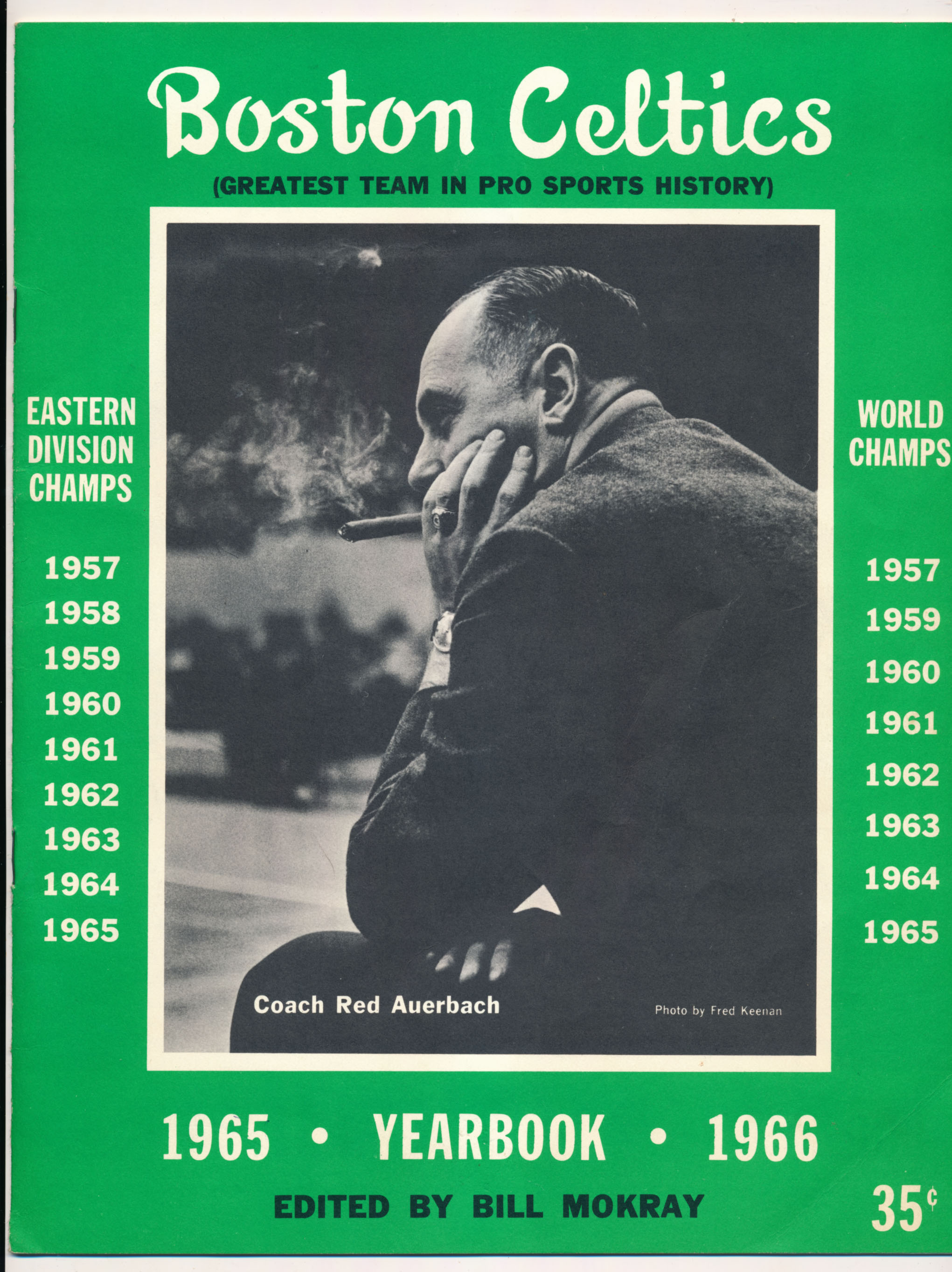 1966 Program  Celtics/Lakers Red Auerbach Day  NM