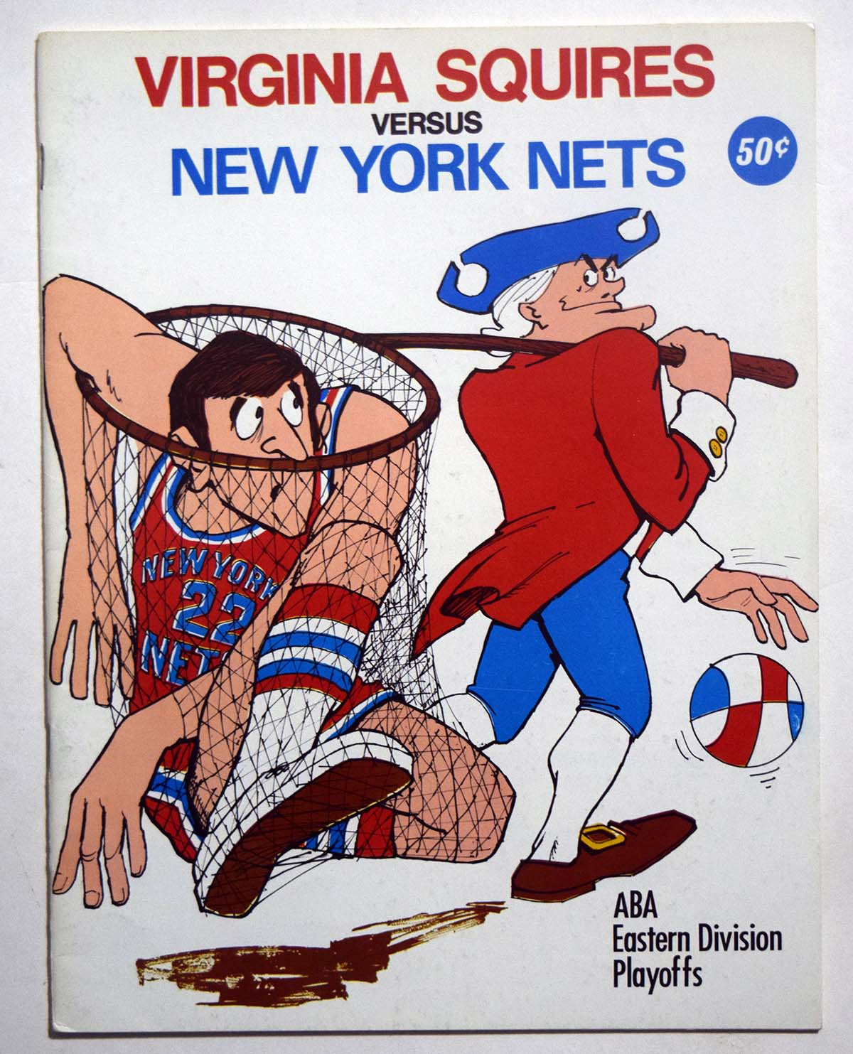 Lot #988 1970 Program  Squires - Nets (04/04/71) ABA Playoffs Cond: Ex-Mt/NM