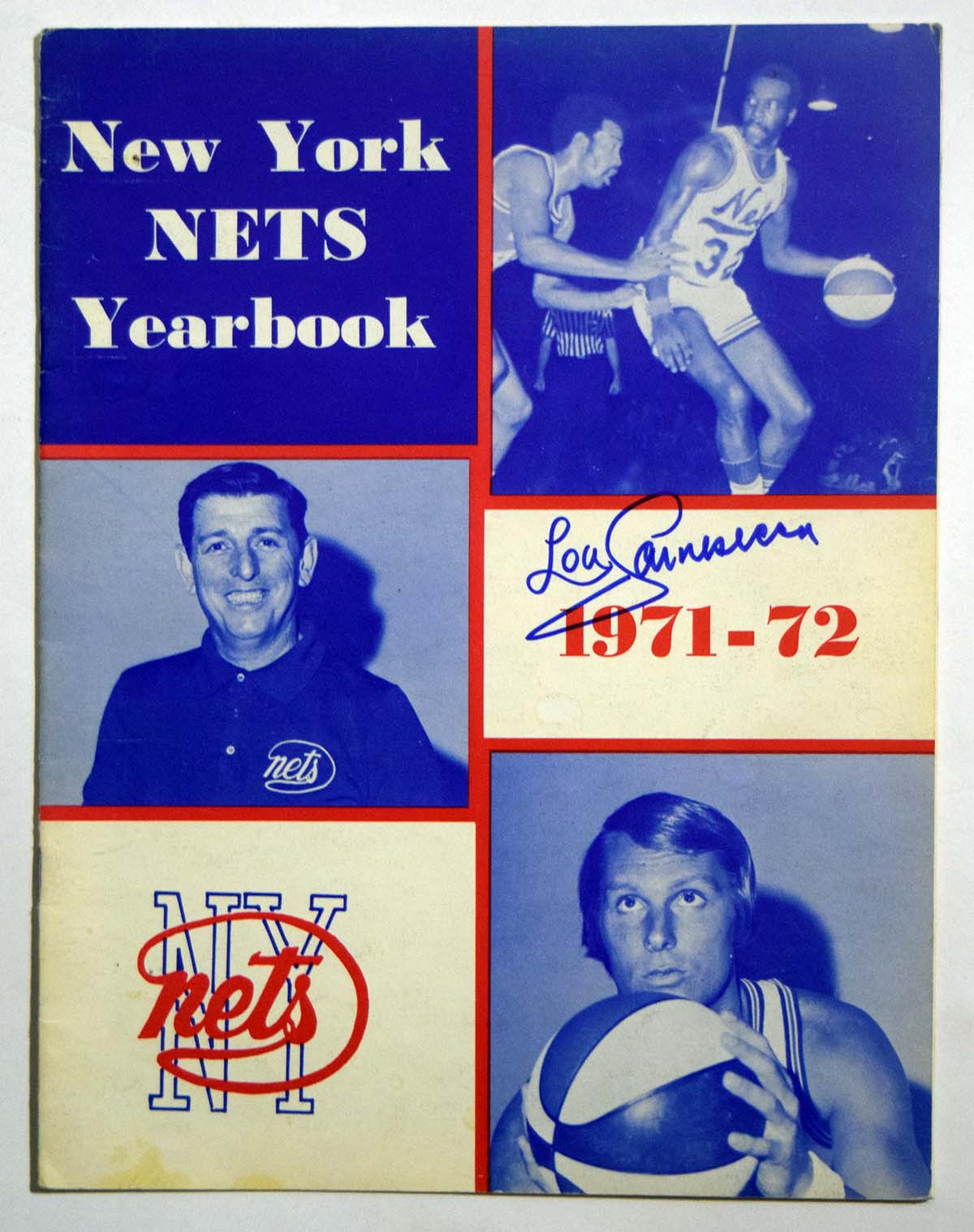 Lot #844 1971 Program  NY Nets Yearbook signed by Lou Carnisecca (JSA LOA) Cond: 9