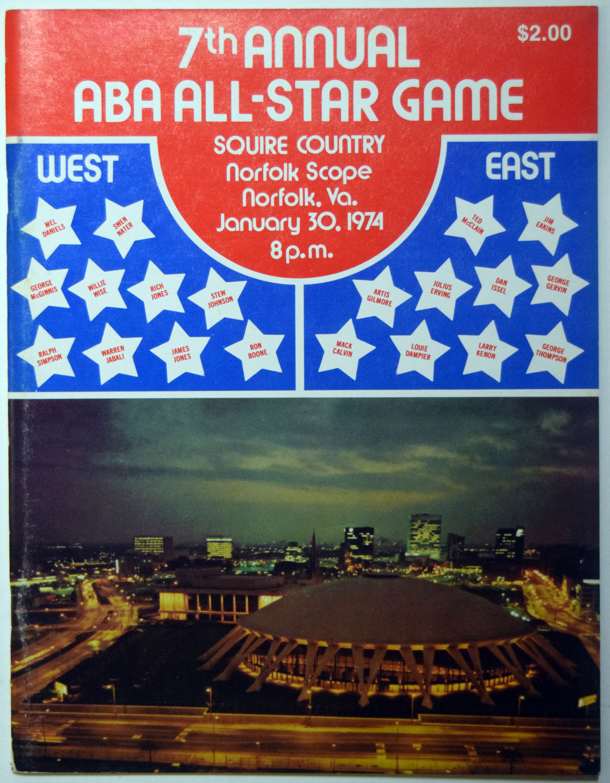 Lot #999 1974 Program  ABA All Star Game Cond: Ex-Mt+