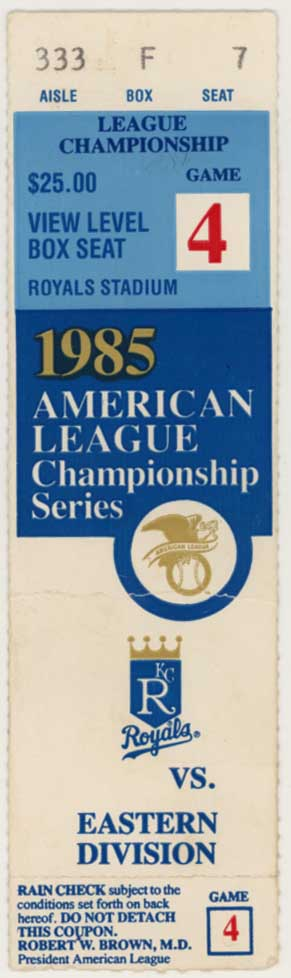 1985 Ticket  ALCS Game 4 Ex