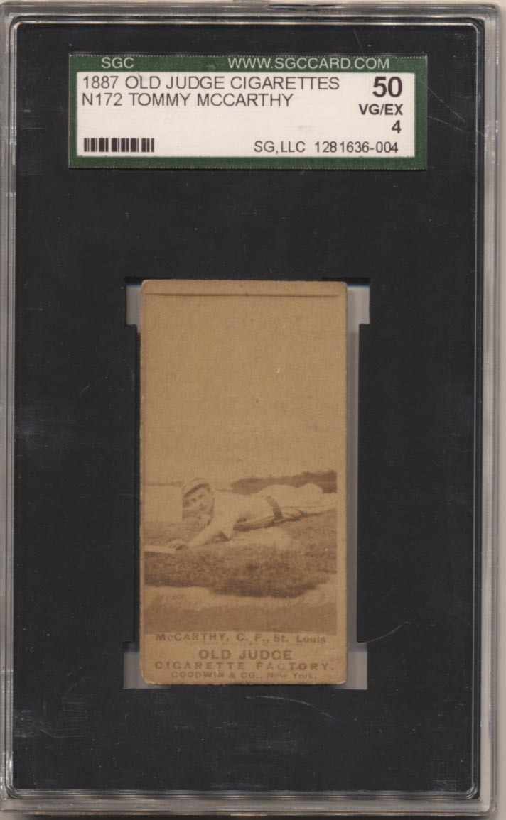 Lot #33 1887 N172 Old Judge  Tommy McCarthy (Sliding outdoors,St. Louis) Cond: SGC 4