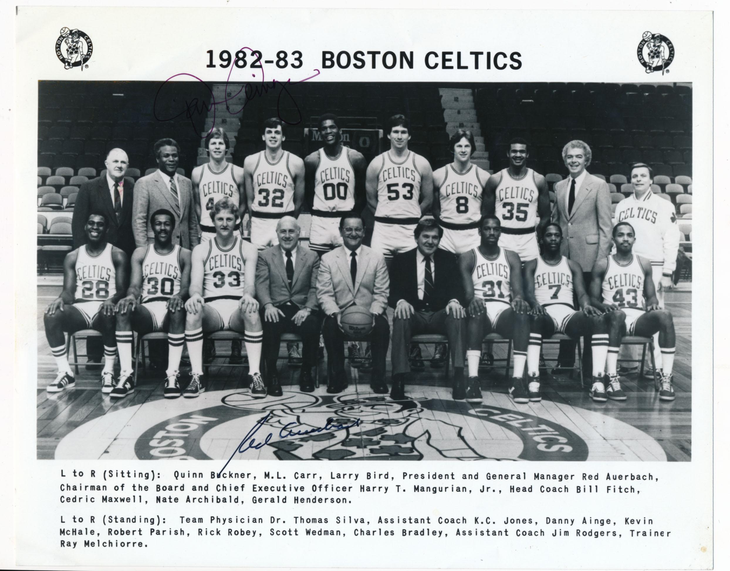 Lot #934  8 x 10  Auerbach, Red Signed 1982-83 Celtics Photo (JSA LOAA) Cond: 8