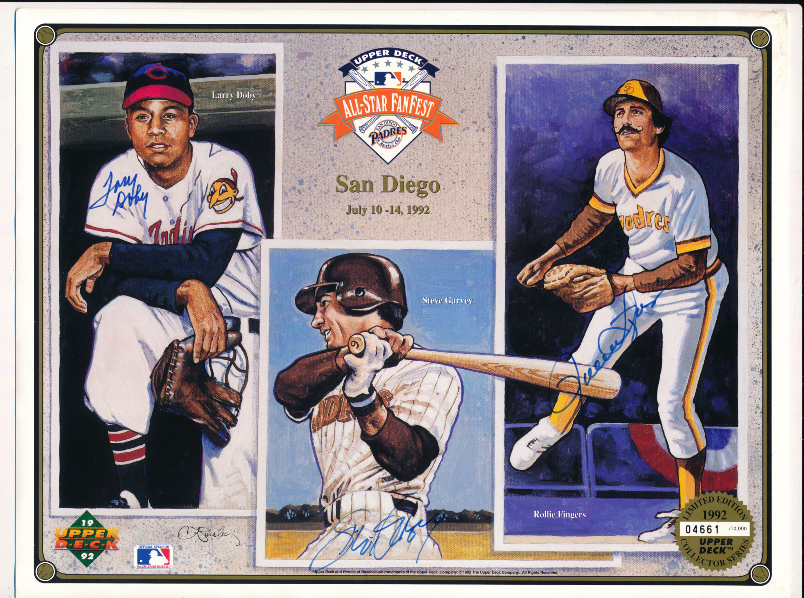 Lot #534  8 x 10  Doby/Garvey/R. Fingers Signed 1992 Padres Fanfest Print Cond: 9.5