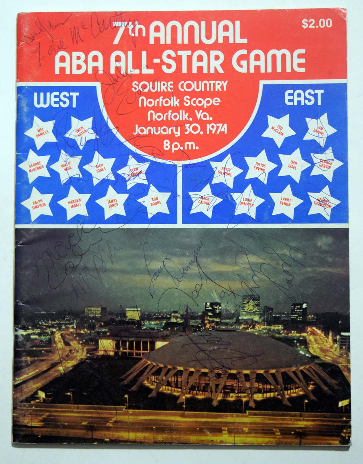 Lot #846 1974 Program  ABA All Star Game Cond: 9
