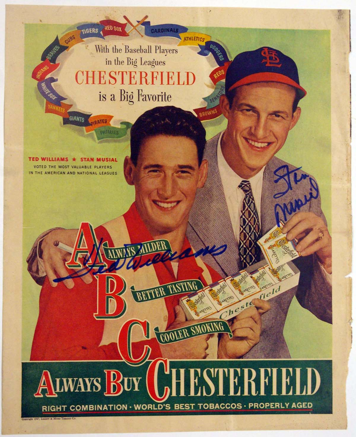 Lot #526    Williams/Musial Signed Chesterfield Ad Cond: 9.5